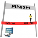 Suunnittele tietokoneen näytöllä, viimeistele viiva nauha tekstillä ja logolla