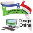 Suunnittele online-muoviset rannekkeet, joissa on logo ja teksti