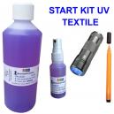 UV-aloituspakkaus tekstiilien vaatteiden merkintään