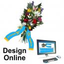 Suunnittele online-kimppuinauhoja tekstiä ja logoa