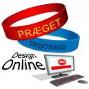 Suunnittele online-silikoni-rannekkeitä tekstin ja logon avulla