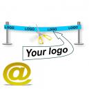 Lähetä muotoilun nauhan logo ja teksti