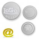 Alumiiniset rahakkeet ja kolikot, joissa on logo ja teksti